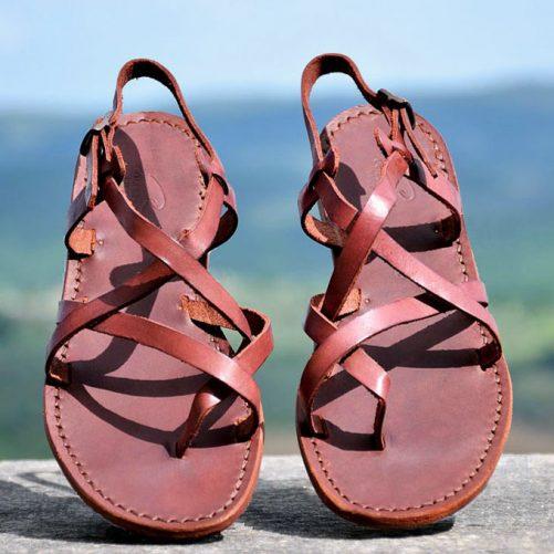 sandalo romano in cuoio donna