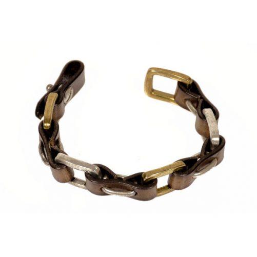 bracciale in metallo e cuoio