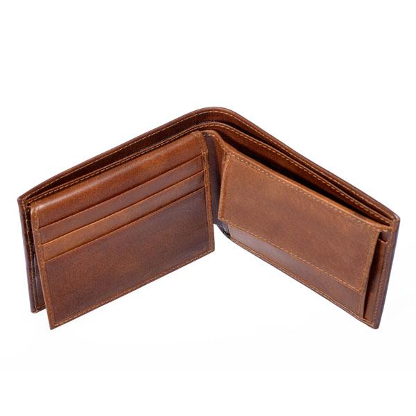 portafoglio uomo con spicci in cuoio